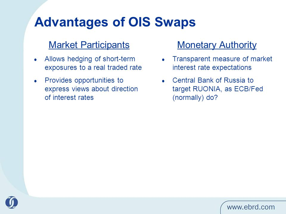 Advantages of OIS Swaps Market Participants Allows hedging of short-term exposures to a real traded rate Provides opportunities to express views about direction of interest rates Monetary Authority Transparent measure of market interest rate expectations Central Bank of Russia to target RUONIA, as ECB/Fed (normally) do