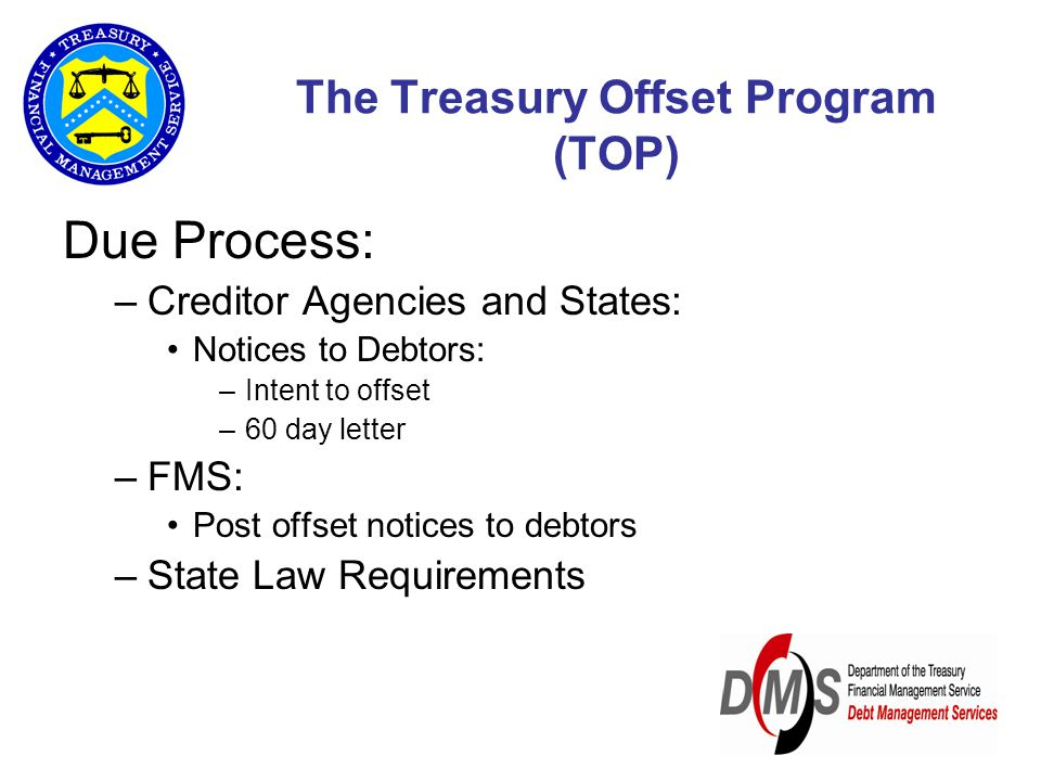The Treasury Offset Program (TOP) Due Process: –Creditor Agencies and States: Notices to Debtors: –Intent to offset –60 day letter –FMS: Post offset notices to debtors –State Law Requirements