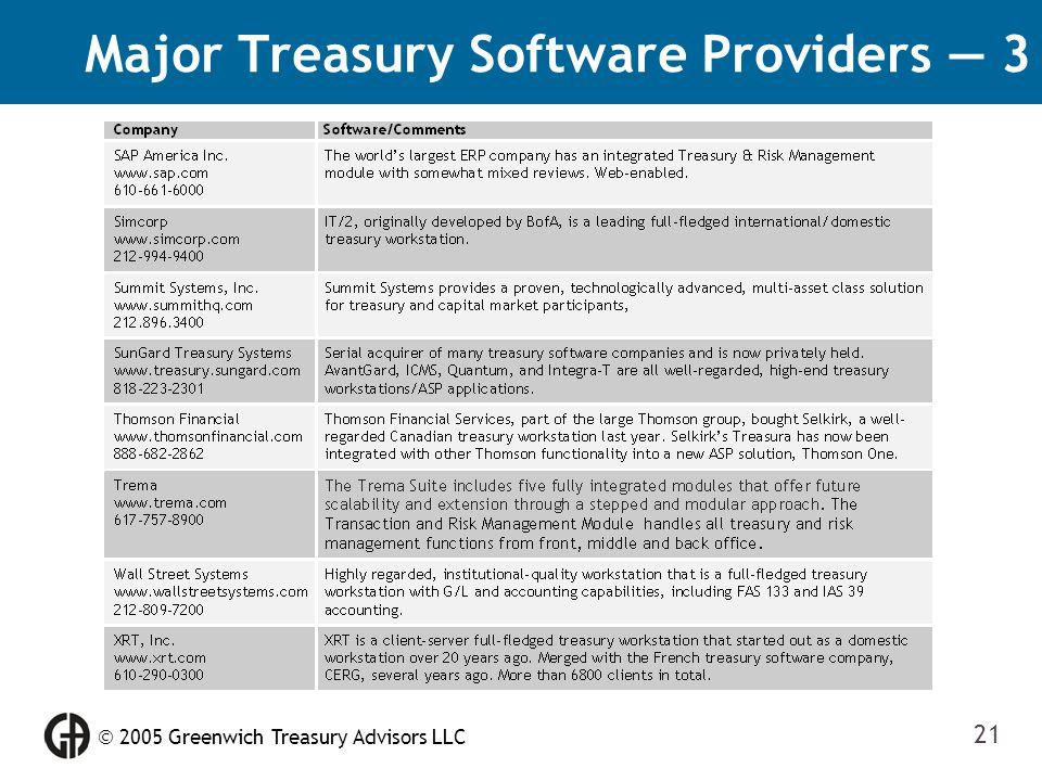  2005 Greenwich Treasury Advisors LLC 21 Major Treasury Software Providers — 3