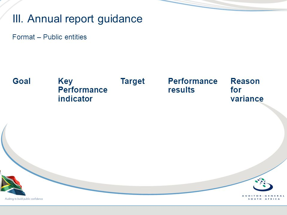 III. Annual report guidance Format – Public entities GoalKey Performance indicator TargetPerformance results Reason for variance