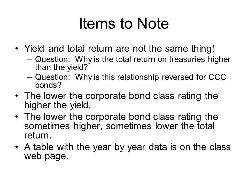 Items to Note Yield and total return are not the same thing.
