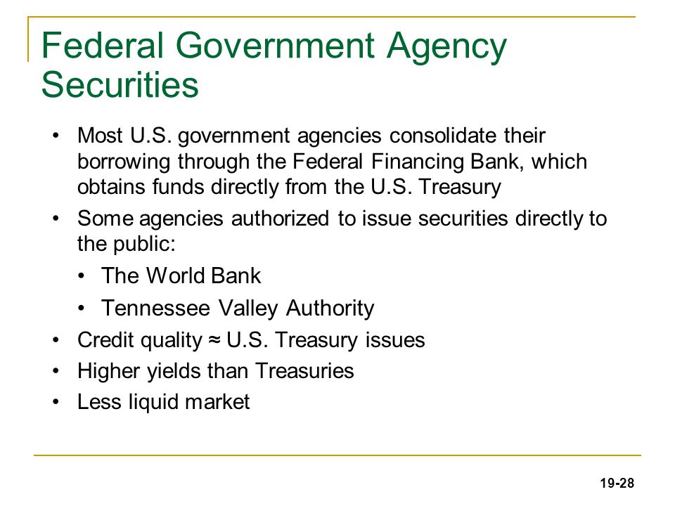 19-28 Federal Government Agency Securities Most U.S.