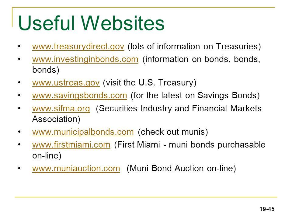 19-45 Useful Websites www.treasurydirect.gov (lots of information on Treasuries)www.treasurydirect.gov www.investinginbonds.com (information on bonds,