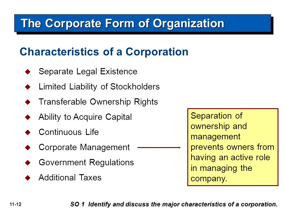 11-12 The Corporate Form of Organization SO 1 Identify and discuss the major characteristics of a corporation.  Separate Legal Existence  Limited Li