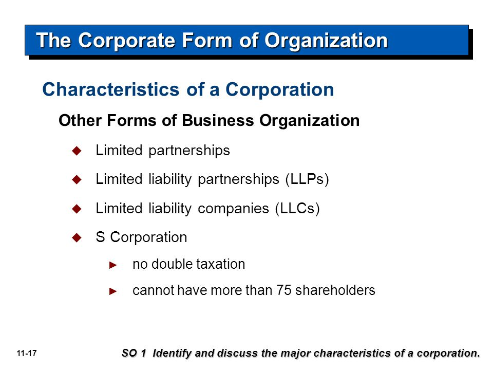 11-17 Other Forms of Business Organization  Limited partnerships  Limited liability partnerships (LLPs)  Limited liability companies (LLCs)  S Cor