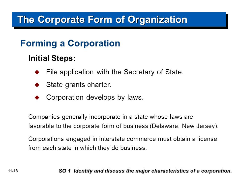 11-18 Forming a Corporation  File application with the Secretary of State.  State grants charter.  Corporation develops by-laws. Initial Steps: Com