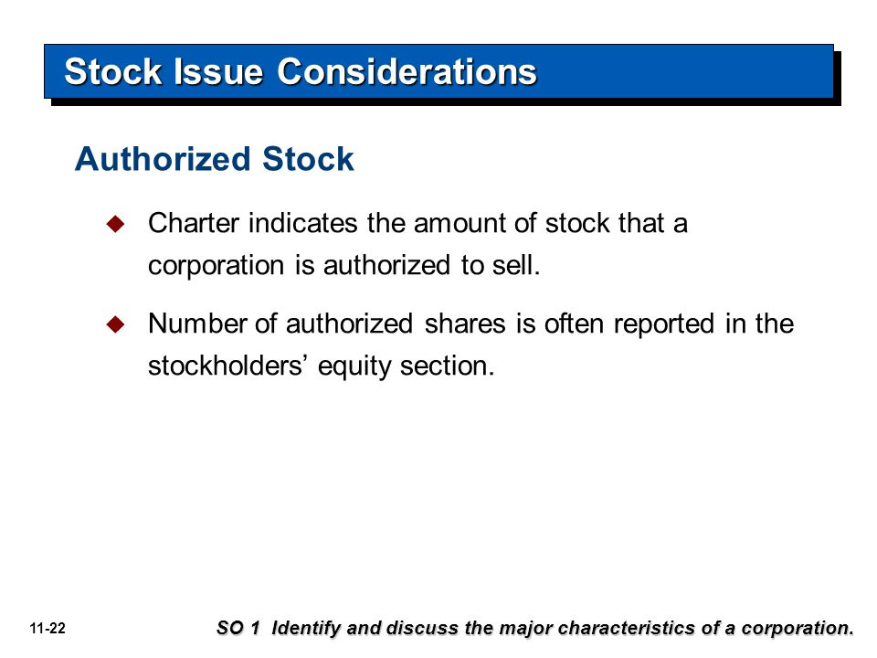 11-22 Stock Issue Considerations  Charter indicates the amount of stock that a corporation is authorized to sell.  Number of authorized shares is of