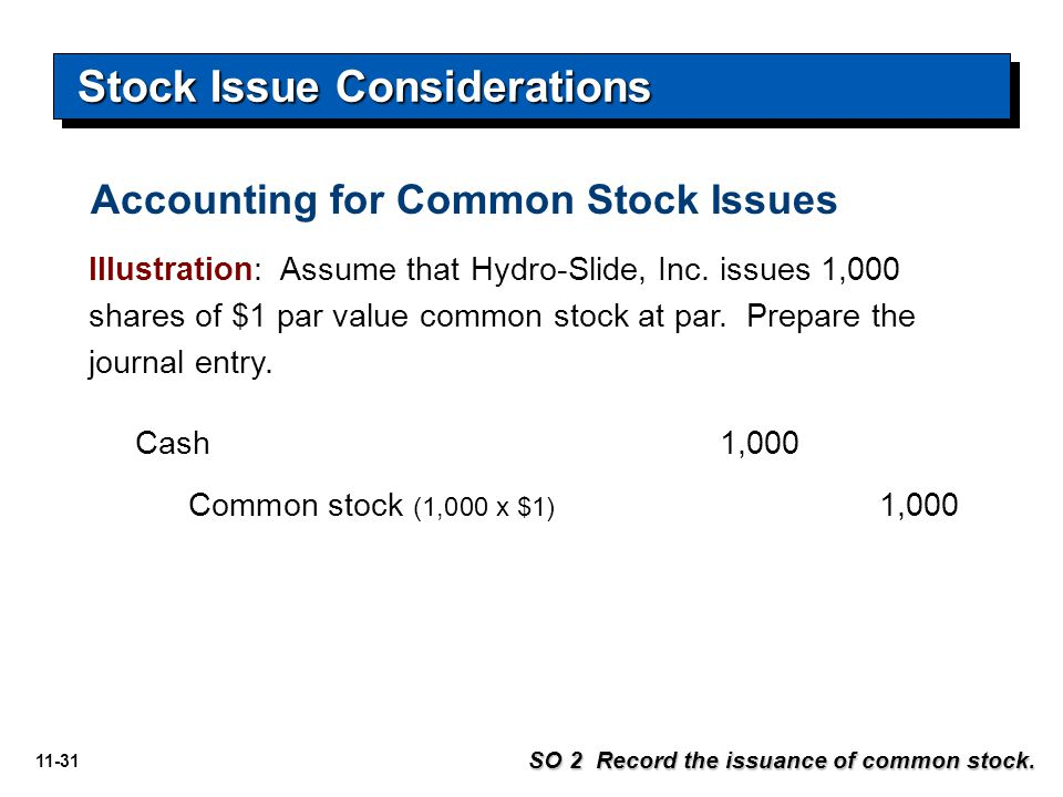 11-31 Illustration: Assume that Hydro-Slide, Inc. issues 1,000 shares of $1 par value common stock at par. Prepare the journal entry. Cash1,000 Common