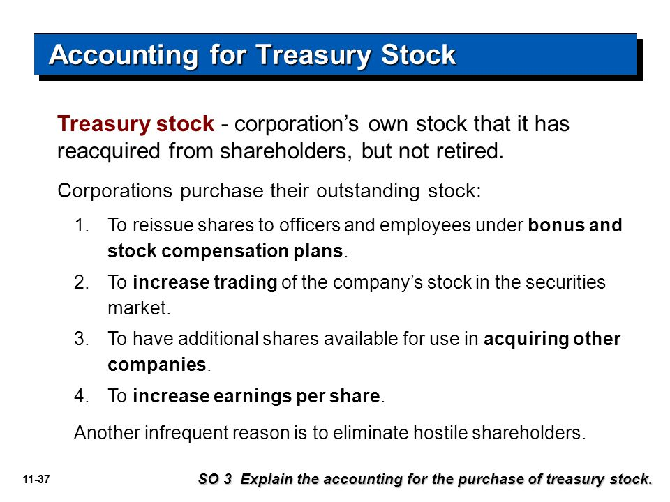 11-37 Treasury stock - corporation's own stock that it has reacquired from shareholders, but not retired. Corporations purchase their outstanding stoc