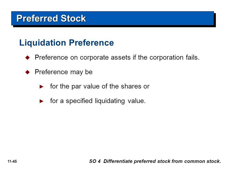 11-45   Preference on corporate assets if the corporation fails.   Preference may be ► ► for the par value of the shares or ► ► for a specified li
