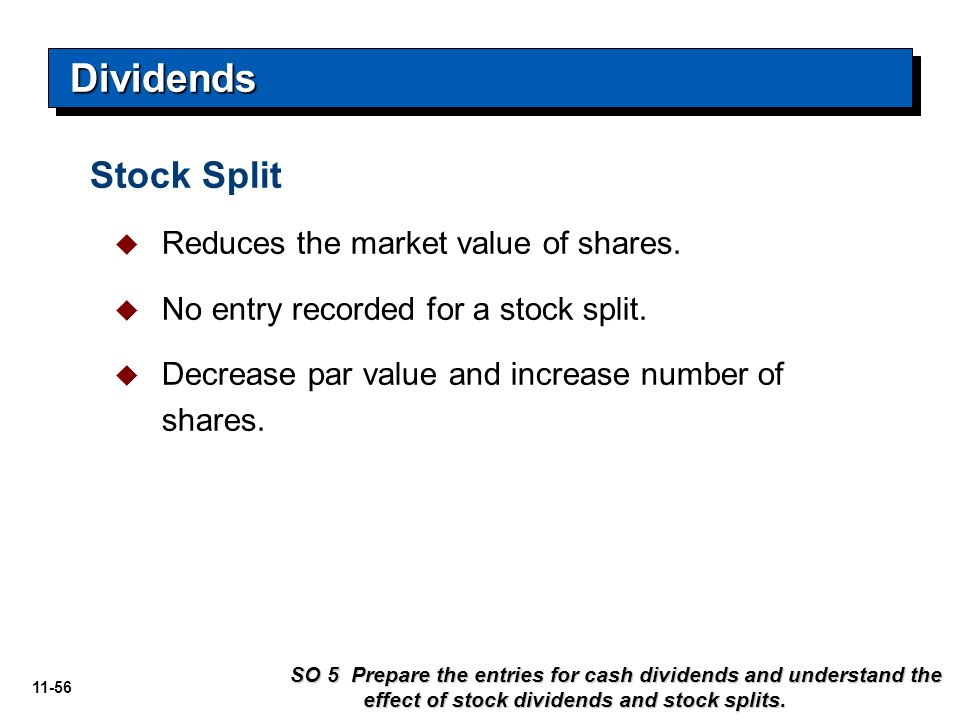 11-56 Stock Split   Reduces the market value of shares.   No entry recorded for a stock split.   Decrease par value and increase number of share