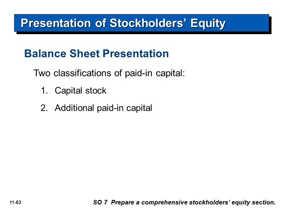 11-63 Balance Sheet Presentation Presentation of Stockholders' Equity SO 7 Prepare a comprehensive stockholders' equity section. Two classifications o