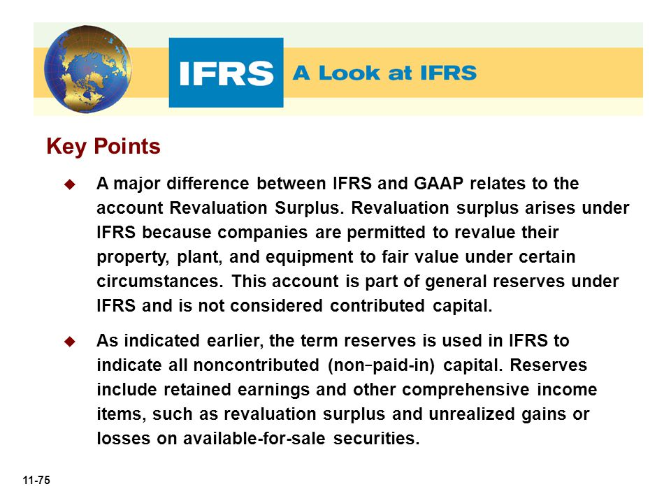 11-75 Key Points  A major difference between IFRS and GAAP relates to the account Revaluation Surplus. Revaluation surplus arises under IFRS because