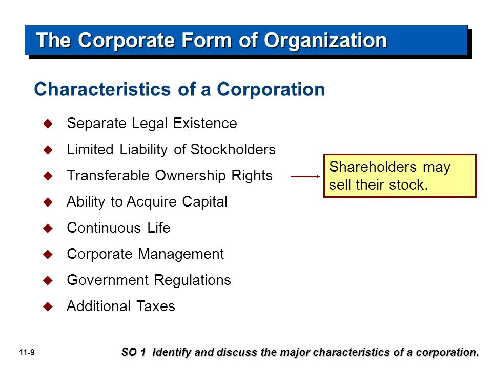 11-9 Shareholders may sell their stock. The Corporate Form of Organization SO 1 Identify and discuss the major characteristics of a corporation.  Sep