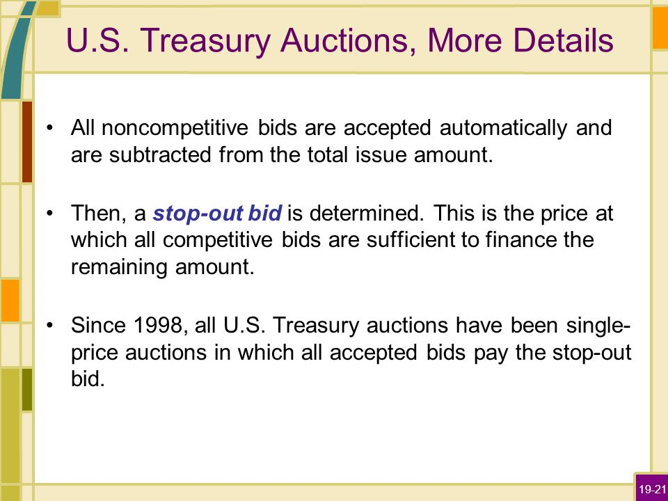 19-21 U.S. Treasury Auctions, More Details All noncompetitive bids are accepted automatically and are subtracted from the total issue amount. Then, a