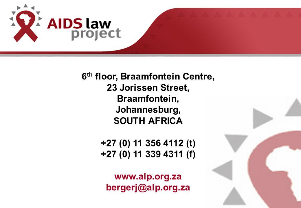 6 th floor, Braamfontein Centre, 23 Jorissen Street, Braamfontein, Johannesburg, SOUTH AFRICA +27 (0) 11 356 4112 (t) +27 (0) 11 339 4311 (f) www.alp.org.za bergerj@alp.org.za