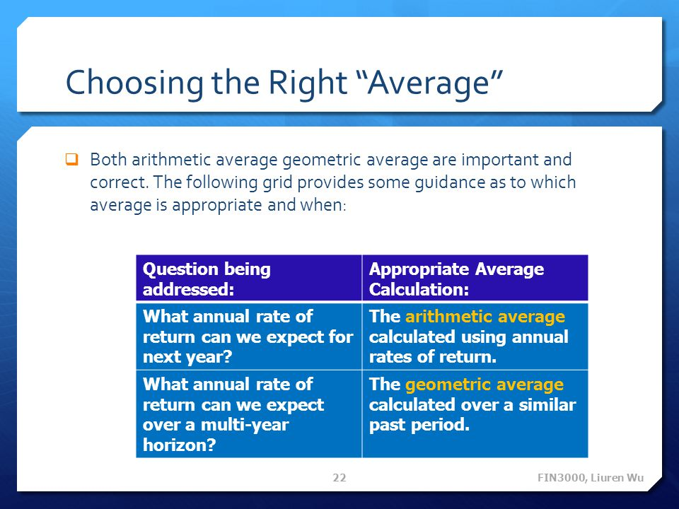 Choosing the Right Average  Both arithmetic average geometric average are important and correct.
