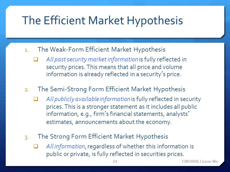 The Efficient Market Hypothesis 1.