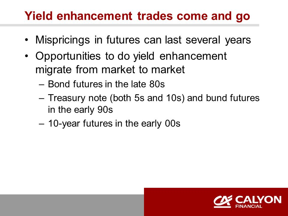 Yield enhancement trades come and go Mispricings in futures can last several years Opportunities to do yield enhancement migrate from market to market –Bond futures in the late 80s –Treasury note (both 5s and 10s) and bund futures in the early 90s –10-year futures in the early 00s