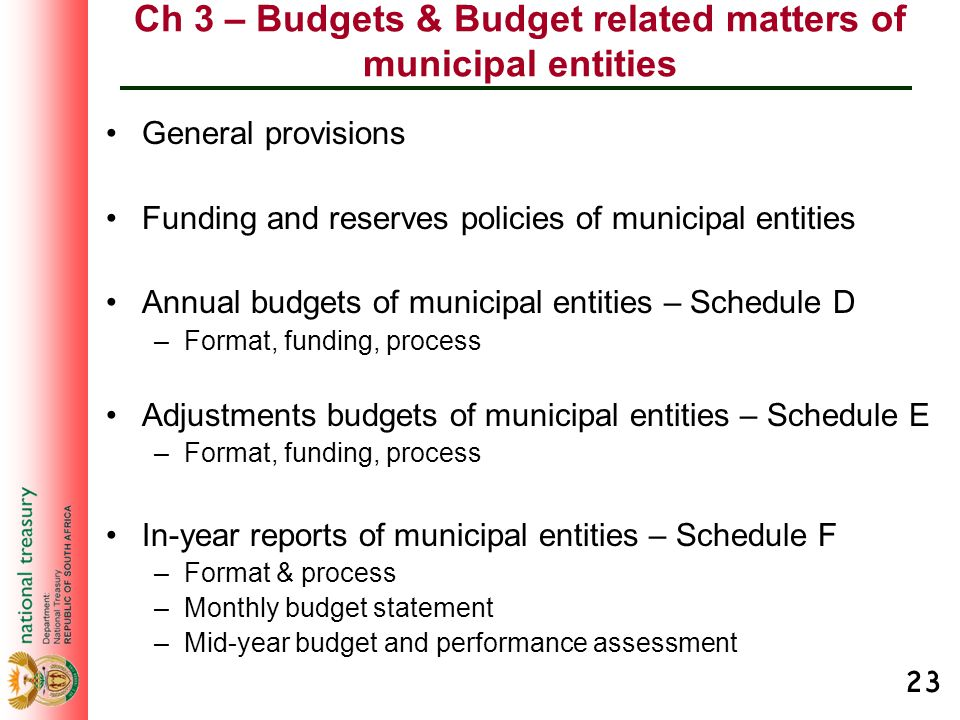 23 Ch 3 – Budgets & Budget related matters of municipal entities General provisions Funding and reserves policies of municipal entities Annual budgets