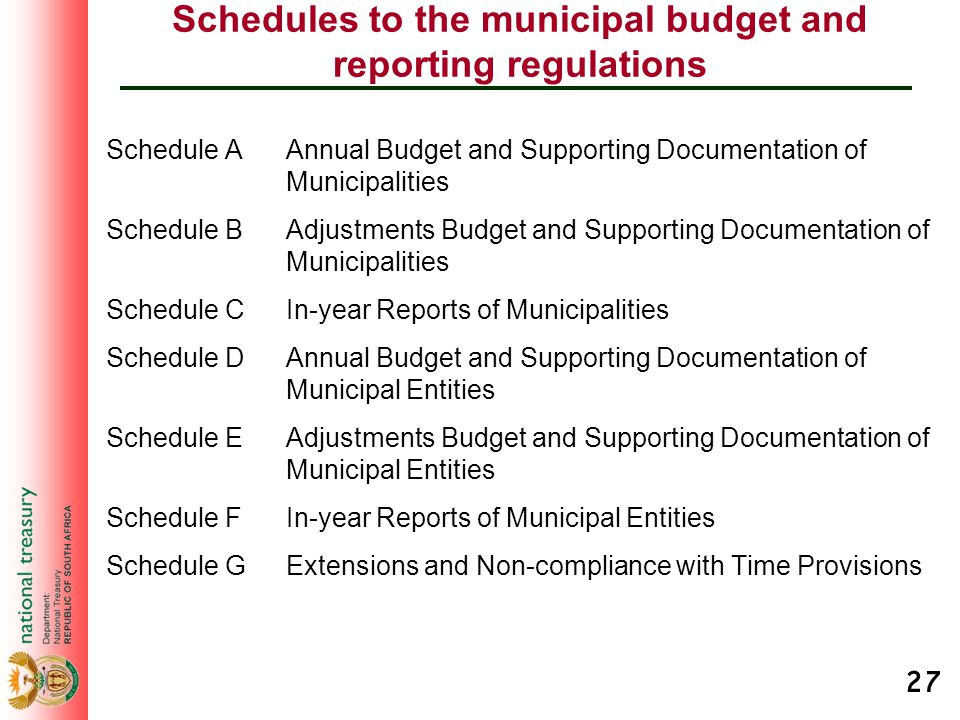 27 Schedules to the municipal budget and reporting regulations Schedule A Annual Budget and Supporting Documentation of Municipalities Schedule B Adju