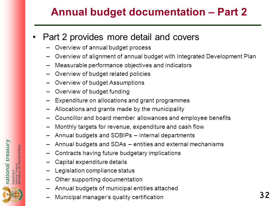 32 Annual budget documentation – Part 2 Part 2 provides more detail and covers –Overview of annual budget process –Overview of alignment of annual bud