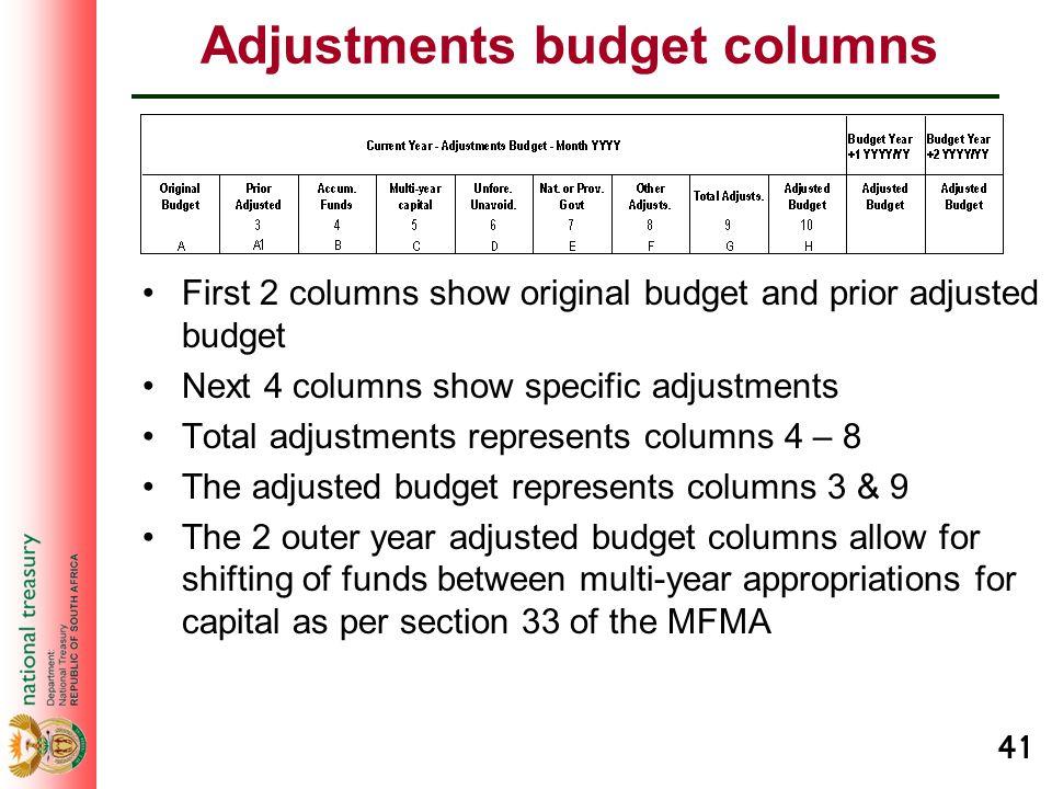 41 Adjustments budget columns First 2 columns show original budget and prior adjusted budget Next 4 columns show specific adjustments Total adjustment