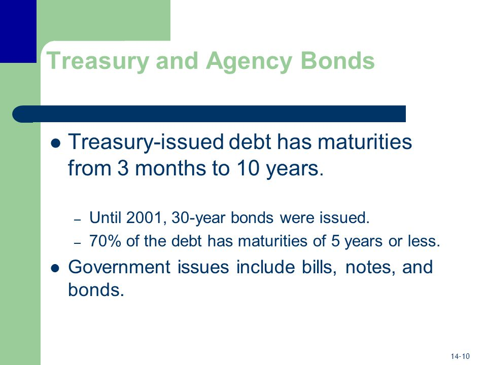 14-10 Treasury and Agency Bonds Treasury-issued debt has maturities from 3 months to 10 years.