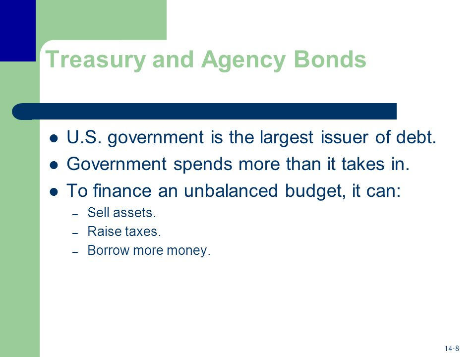 14-8 Treasury and Agency Bonds U.S. government is the largest issuer of debt.
