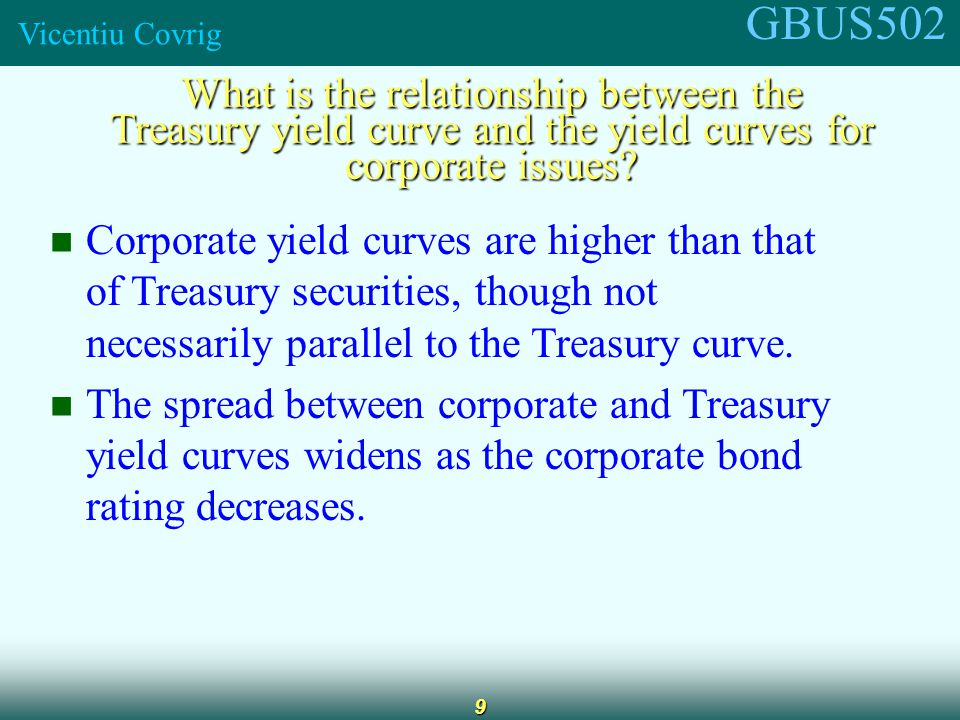 GBUS502 Vicentiu Covrig 9 What is the relationship between the Treasury yield curve and the yield curves for corporate issues.