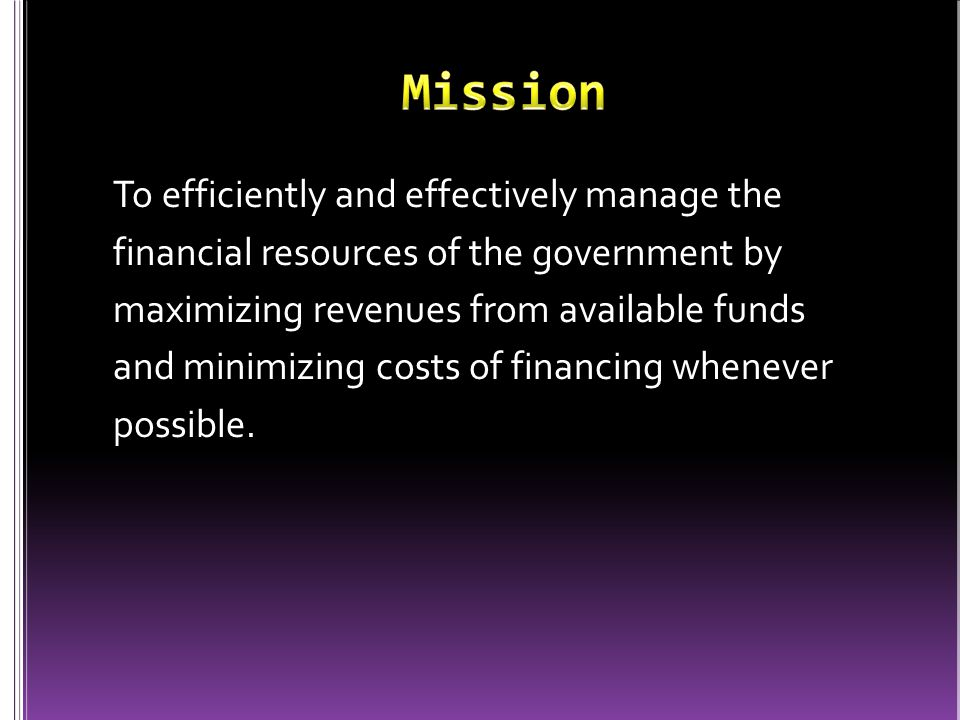 To efficiently and effectively manage the financial resources of the government by maximizing revenues from available funds and minimizing costs of financing whenever possible.