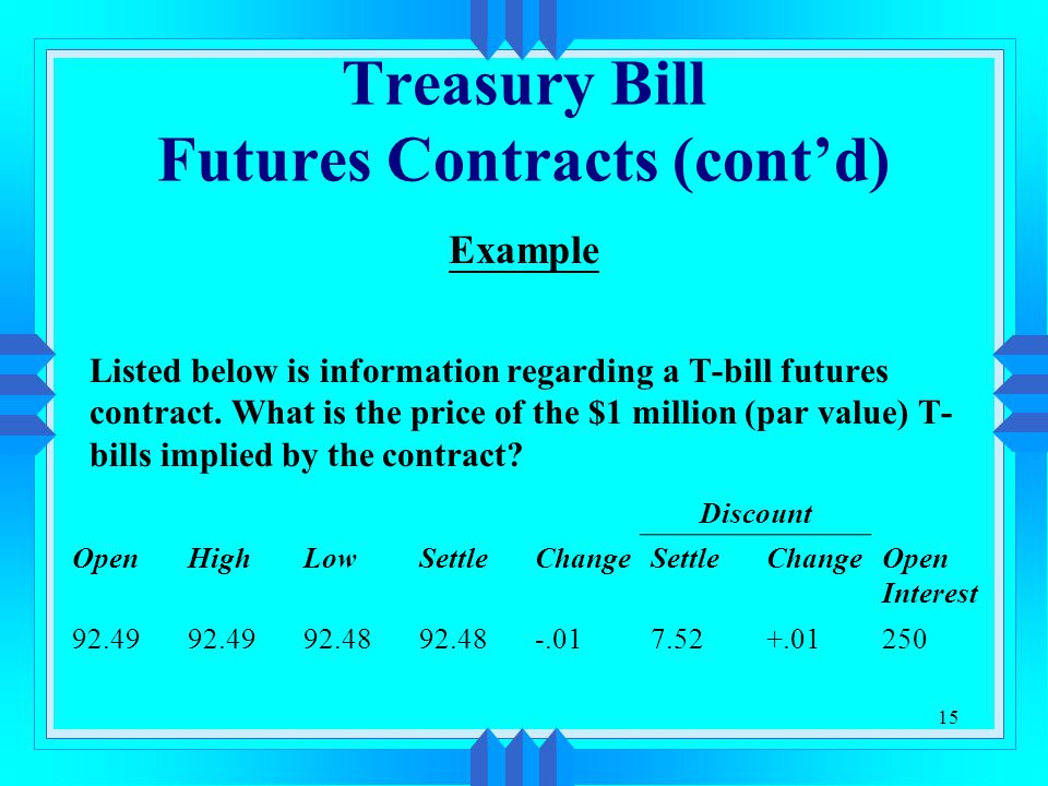 15 Treasury Bill Futures Contracts (cont'd) Example Listed below is information regarding a T-bill futures contract.