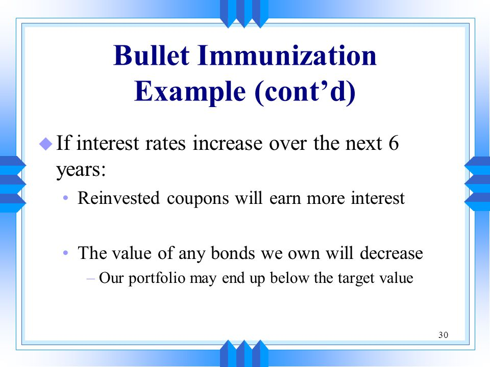 30 Bullet Immunization Example (cont'd) u If interest rates increase over the next 6 years: Reinvested coupons will earn more interest The value of any bonds we own will decrease –Our portfolio may end up below the target value