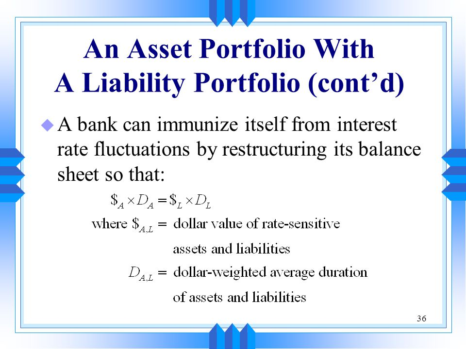 36 An Asset Portfolio With A Liability Portfolio (cont'd) u A bank can immunize itself from interest rate fluctuations by restructuring its balance sheet so that: