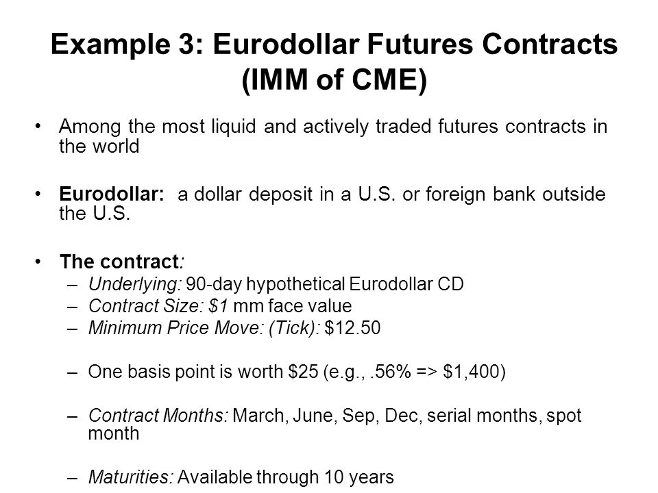 Example 3: Eurodollar Futures Contracts (IMM of CME) Among the most liquid and actively traded futures contracts in the world Eurodollar: a dollar deposit in a U.S.