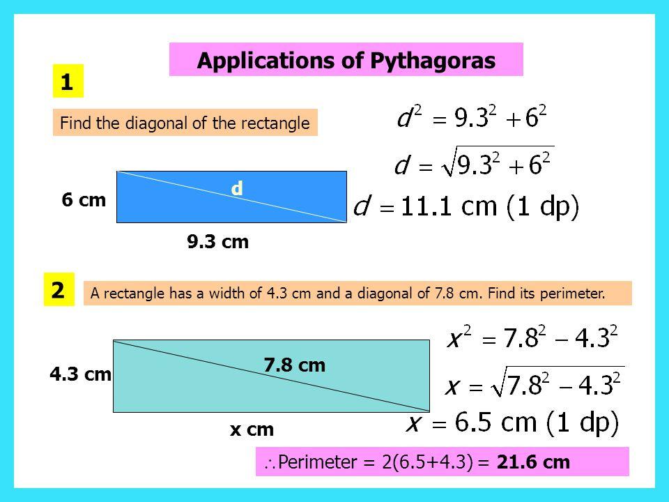 7.1 cm x cm 3.4 cm 7 8 25 m 7 m x m Pythagoras Questions