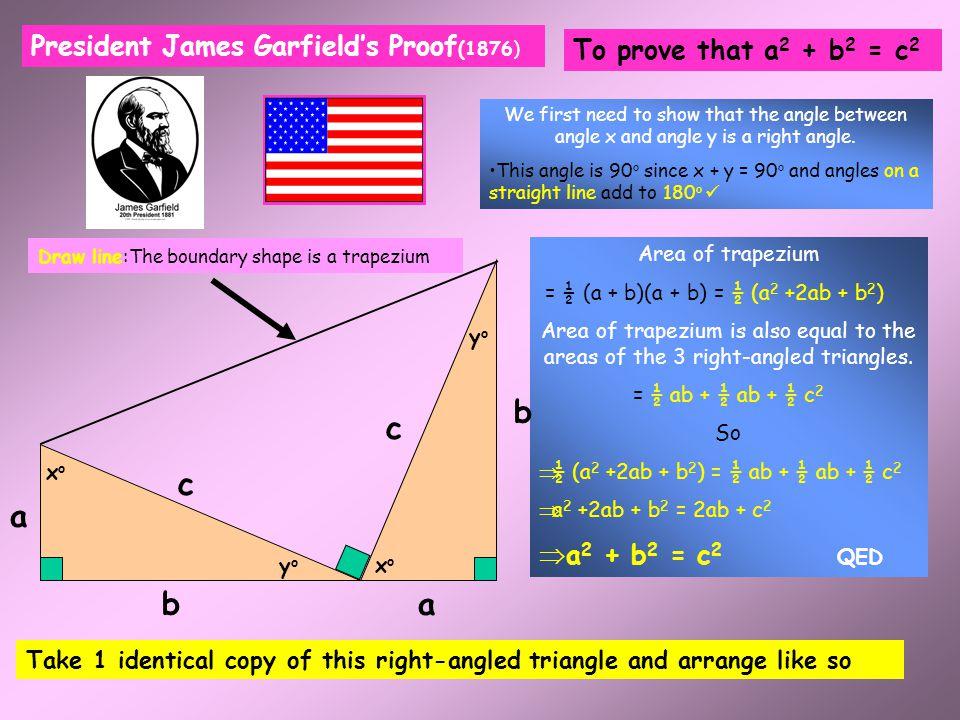 b a c b-a To prove that a 2 + b 2 = c 2 c 2 = 4 x ½ ab + (b-a) 2 c 2 = 2ab + b 2 –2ab + a 2 c 2 = a 2 + b 2 (QED) Bhaskara's Proof (Indian Mathematici