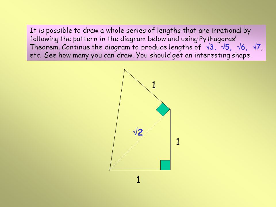 Incommensurable Magnitudes (Irrational Numbers) 1 1 22 The whole of Pythagorean mathematics and philosophy was based on the fact that any quantity or magnitude could always be expressed as a whole number or the ratio of whole numbers.