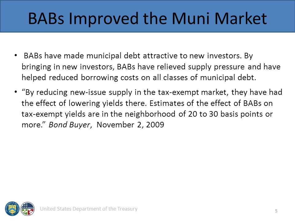 United States Department of the Treasury BABs Improved the Muni Market