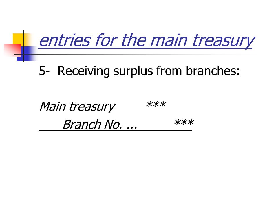 entries for the main treasury 5- Receiving surplus from branches: Main treasury *** Branch No....