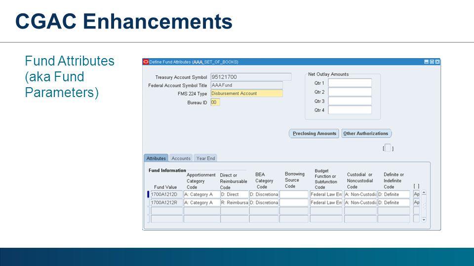 Fund Attributes (aka Fund Parameters) CGAC Enhancements