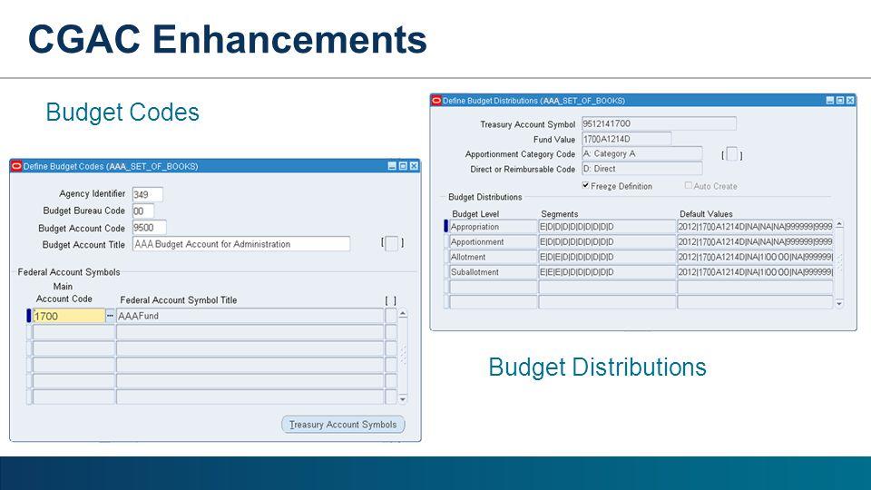 CGAC Enhancements Budget Codes Budget Distributions