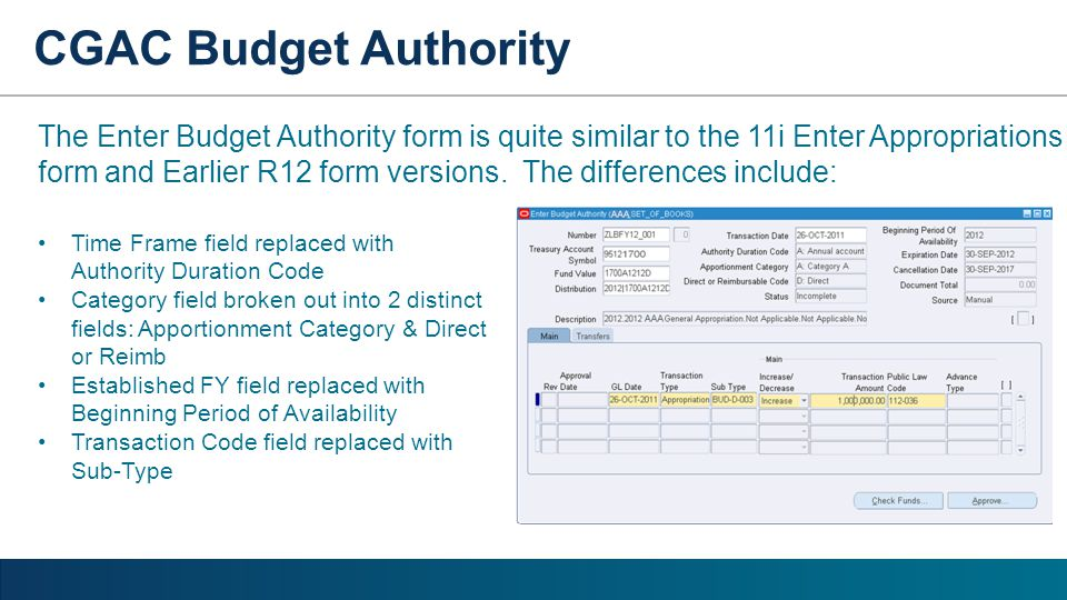 Time Frame field replaced with Authority Duration Code Category field broken out into 2 distinct fields: Apportionment Category & Direct or Reimb Esta