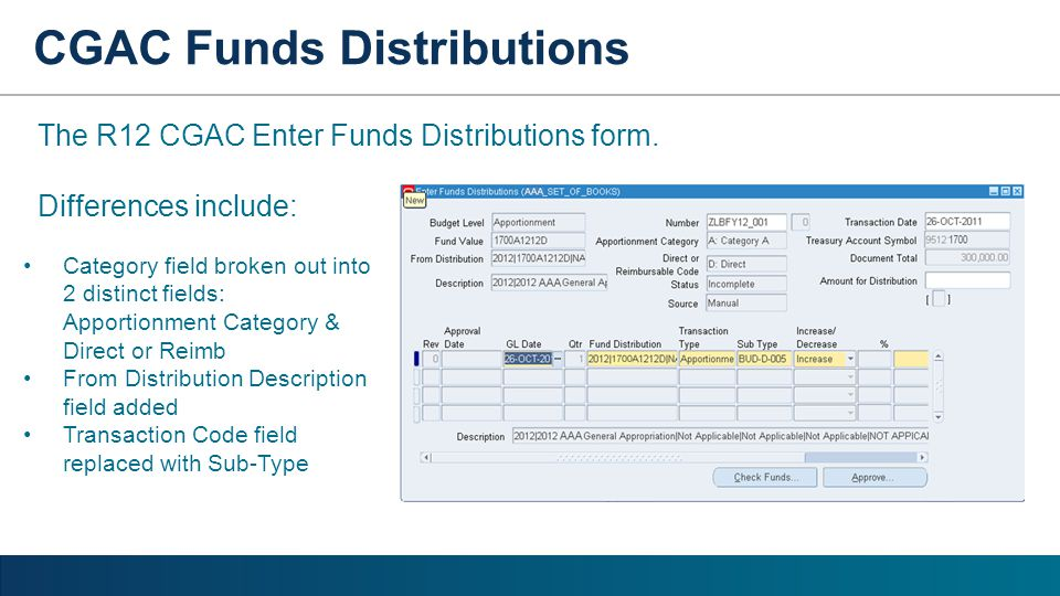 CGAC Funds Distributions The R12 CGAC Enter Funds Distributions form. Differences include: Category field broken out into 2 distinct fields: Apportion
