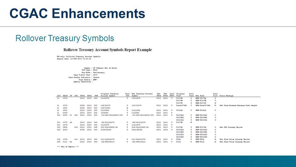 CGAC Enhancements Rollover Treasury Symbols