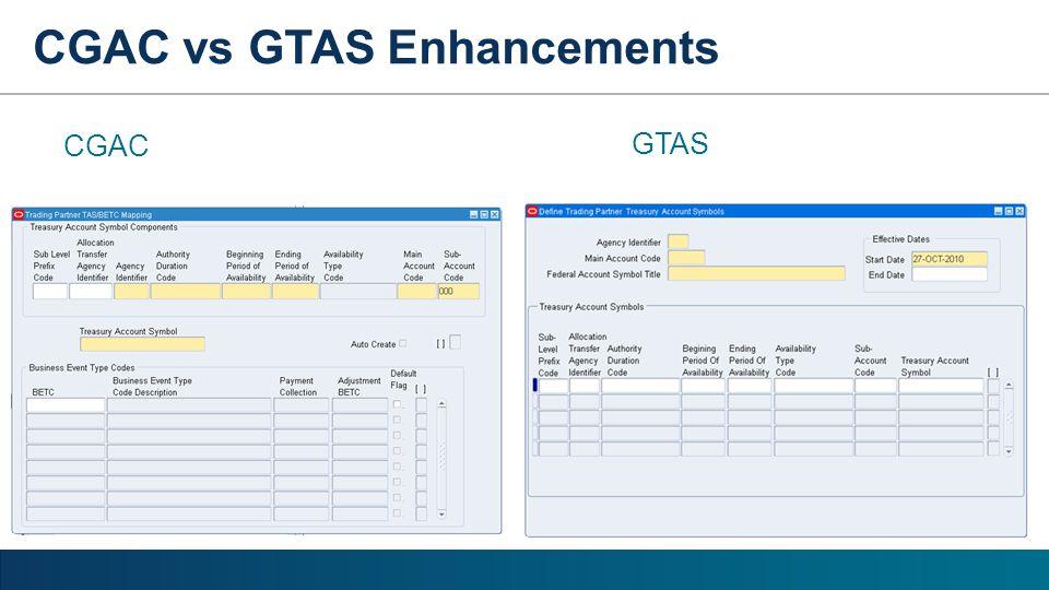 CGAC vs GTAS Enhancements GTAS CGAC