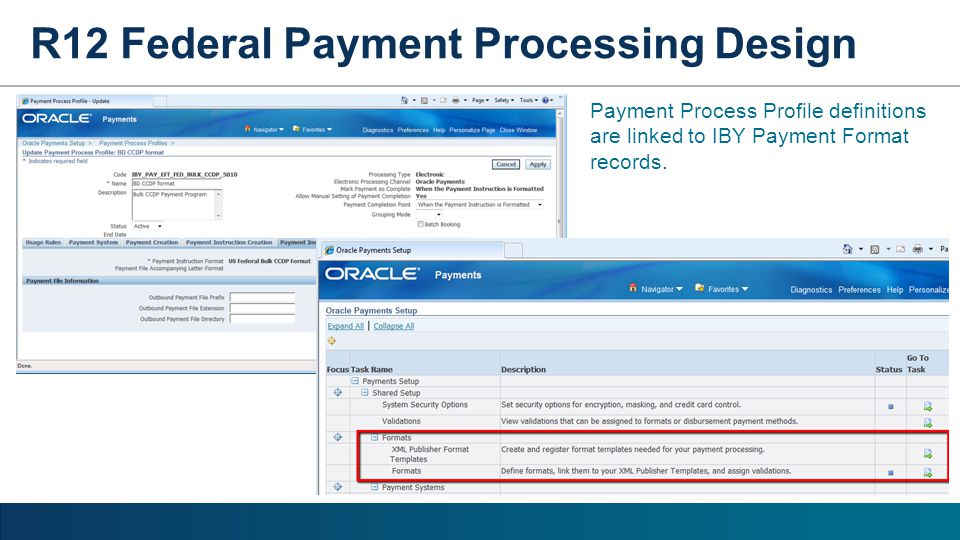 R12 Federal Payment Processing Design Payment Process Profile definitions are linked to IBY Payment Format records.