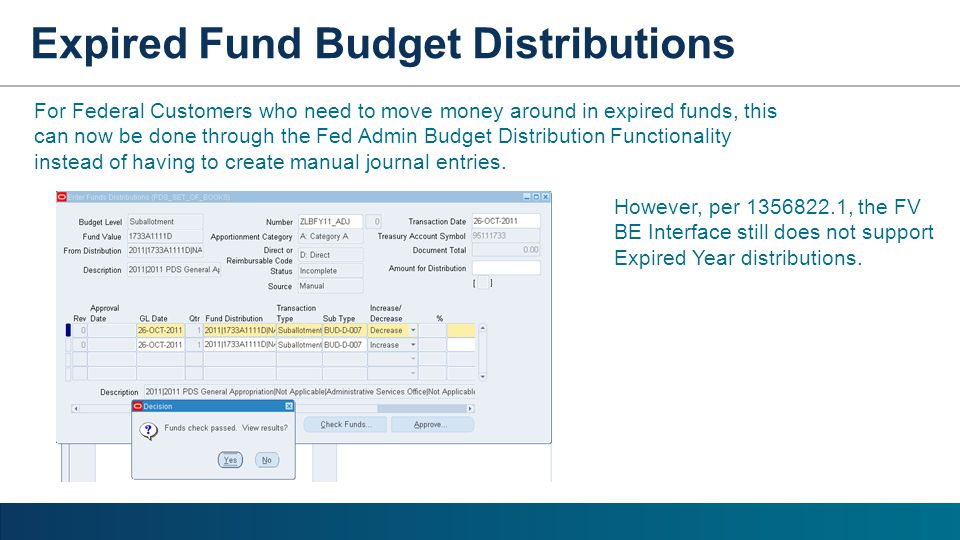 For Federal Customers who need to move money around in expired funds, this can now be done through the Fed Admin Budget Distribution Functionality ins