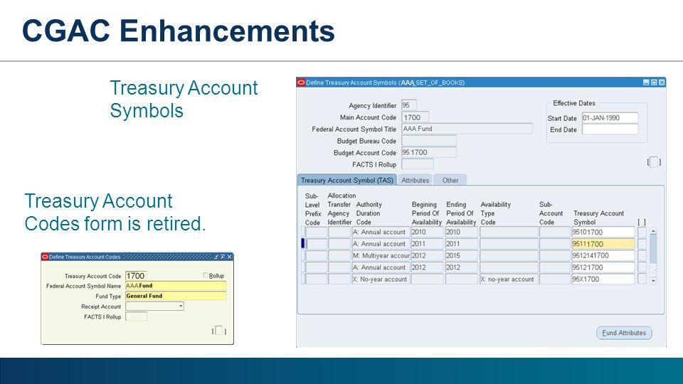 Treasury Account Symbols Treasury Account Codes form is retired.