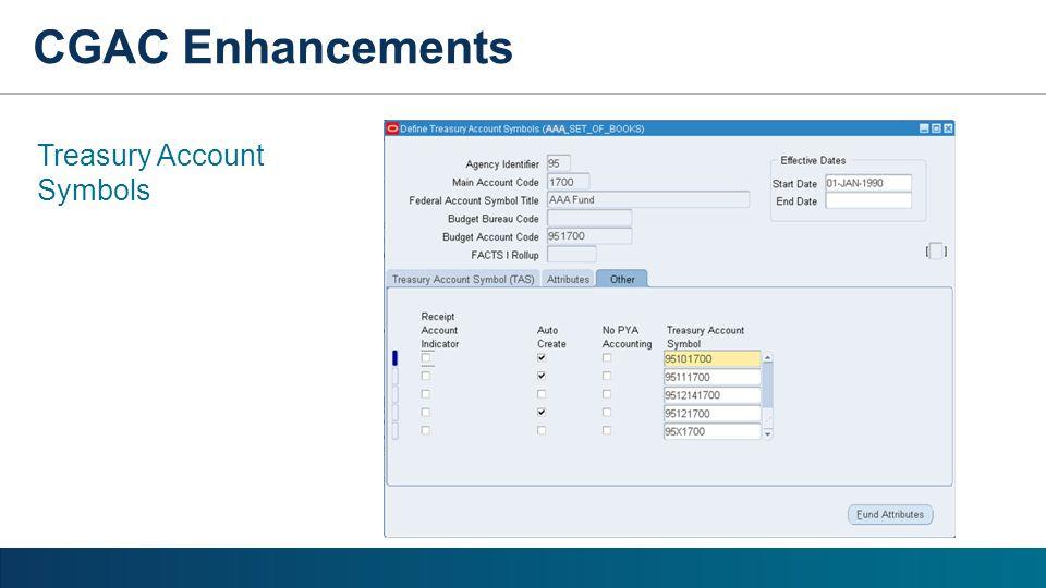CGAC Enhancements Treasury Account Symbols